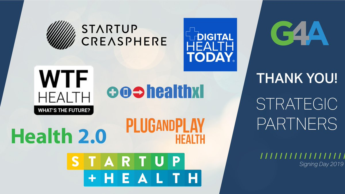 Thanks to all our #AWESOME #Partners for your support in our #G4AReloaded Signing Day! #togetherwecan and ARE Changing the Experience of Health @startuphealth @Dhealthtoday @jessdemassa @health_xl @plugandplay @Health2eu #startupcreasphere https://t.co/I4mqTh2jnK