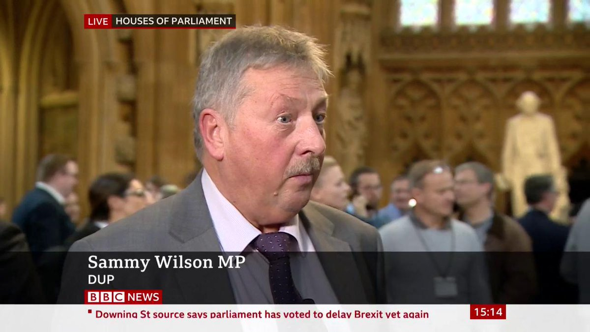"""""""This was the only way in which we could ensure we had an opportunity to have proper scrutiny of the deal"""" says the DUP's Sammy Wilson, who voted for the Letwin amendmentLive updates: http://bbc.in/2MvI6ER #BrexitVote"""
