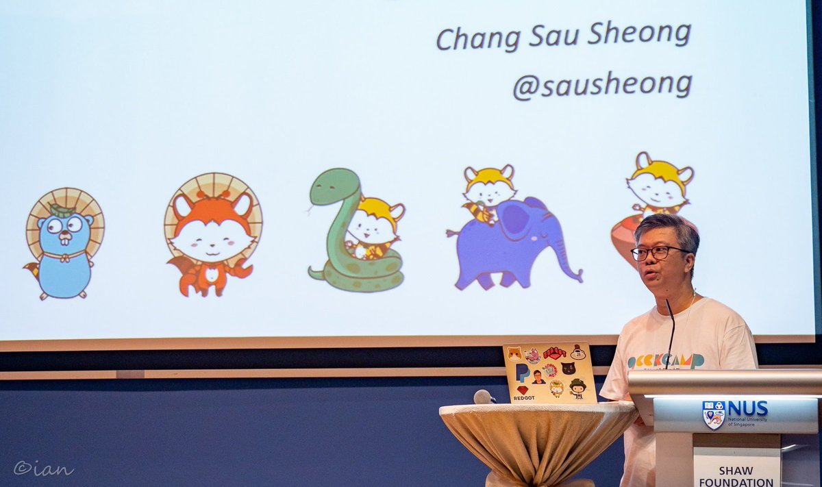 Spoke at #geekcampsg this morning about Tanuki, caught up with some old friends and first time distributing stickers for my project! github.com/sausheong/tanu…