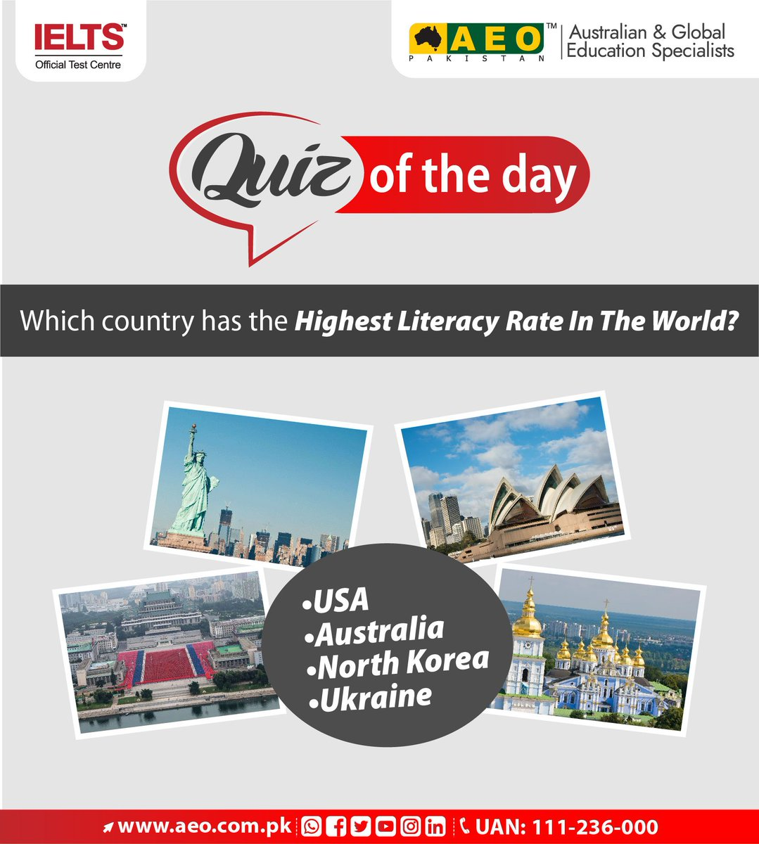 "#WeekendVibes Answer our ""quiz of the day"" and get a chance to win an exclusive souvenir from #AEOPakistan. Note : The person who gives the correct answer first will be the winner. #Australian and #GlobalEducationSpecialist #IELTS Official Test Centre"