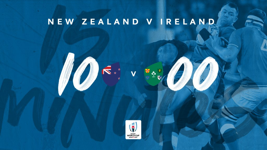 test Twitter Media - 15 minutes gone in #RWCTokyo   This game is the definition of test match rugby 💪💥  The @AllBlacks hold a solid lead over @IrishRugby after a compelling and robust opening  A try from Aaron Smith and 5 points from Richie Mo'unga's boot   #RWC2019 #NZLvIRE https://t.co/Eed1yO5x9e