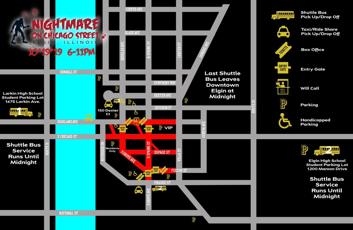 Citizens, if you have VIP parking, this map will get you there. please use westbound Highland avenue in order to get into the parking deck. #ElginNoCS #ZombiesComing pic.twitter.com/D5oukm3xmz