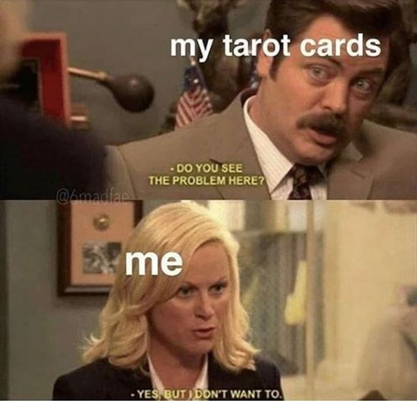 #tarot #denial #parksandrecreationmemes #hilarious #magic #sadbuttrue #oracle #witches #witchymemes #coventrycreationspic.twitter.com/KZvtD2u8dp
