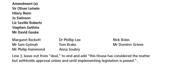 """Amendment (a) Line 3, leave out from """"deal,"""" to end and add """"this House has considered the matter but withholds approval unless and until implementing legislation is passed.""""."""