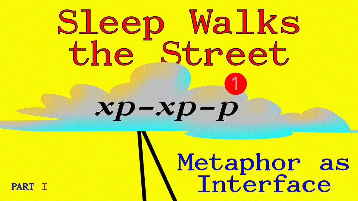 """An graphic, produced by Metahaven, that advertises the text. There is a bright yellow background, with an animated image of a cloud on it. Upon it is the text """"Sleep Walks the Street: Metaphor as Interface. Part 1."""""""