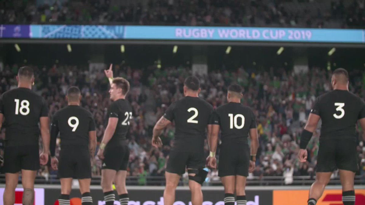 The @AllBlacks bow to their fans after a huge quarter-final in Tokyo. #RWC2019