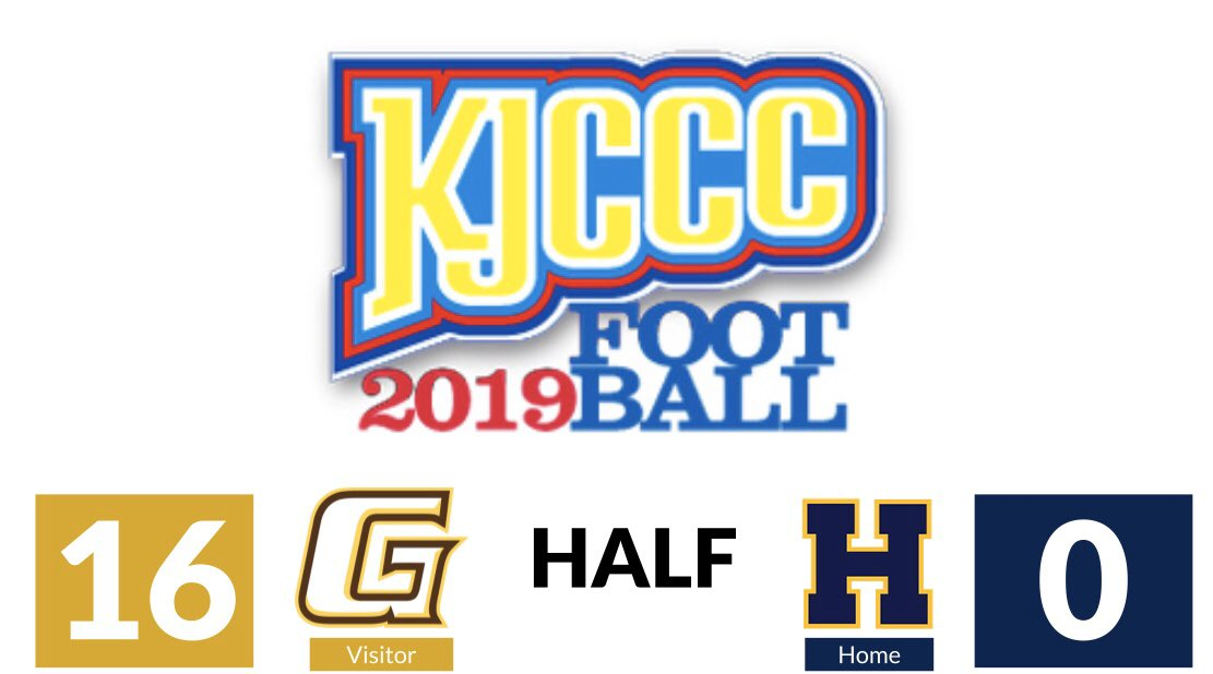 #KJCCC FOOTBALL - In Highland, Garden City leads the Scotties 16-0 at HALFTIME. @HCCscotties @GCCCBroncbuster