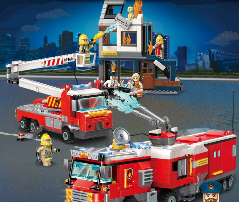 #giftidea #happy Fire Rescue : Two Vehicle Fire Fighting Team - 996 pcs, 6 figures brix-n-more.com/fire-rescue-tw…