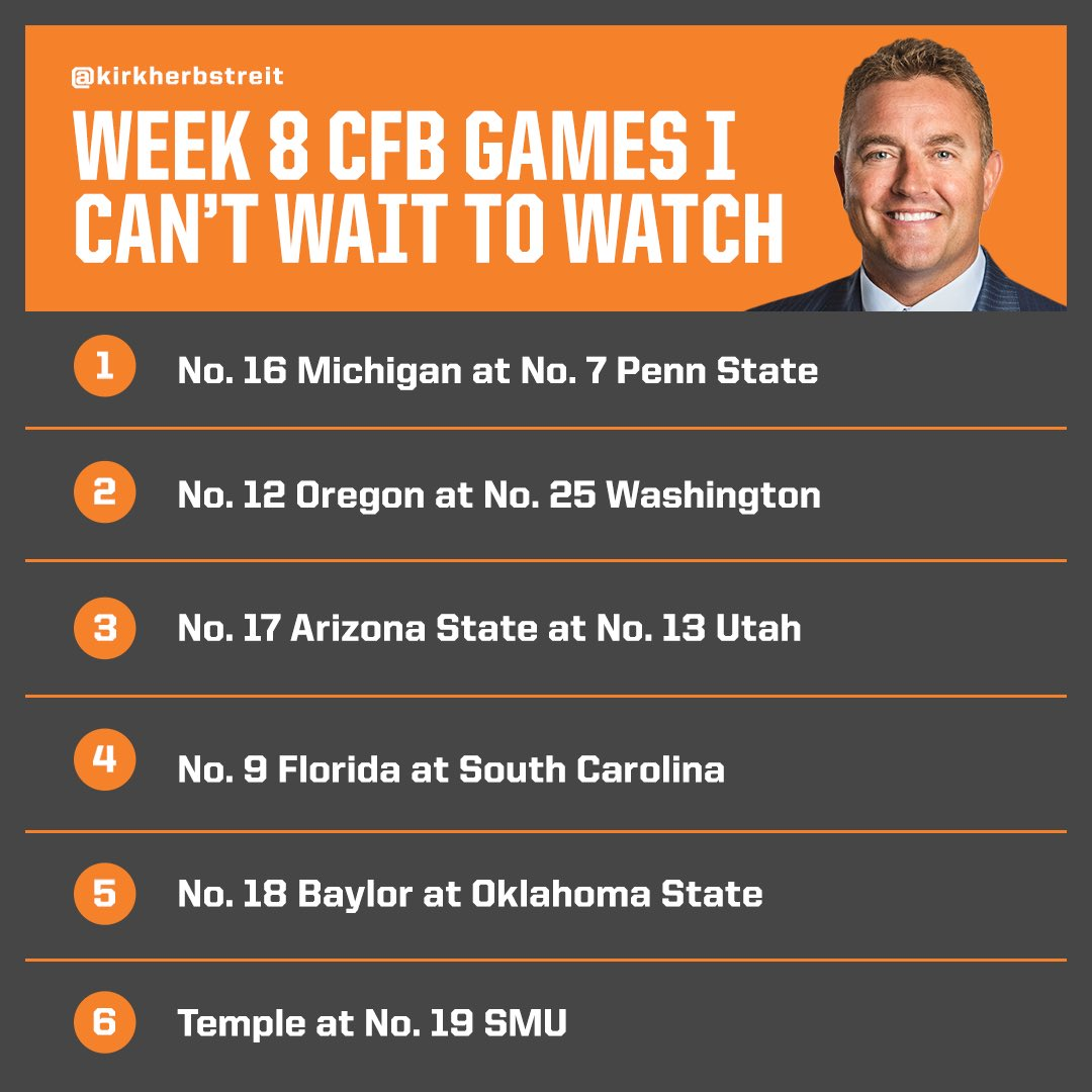 Week 8 is looking like a GOOD one! Here are some of the games I am most excited to watch. Which games are you watching today? We've got @UMichFootball at @PennStateFball at 7:30pm on ABC!