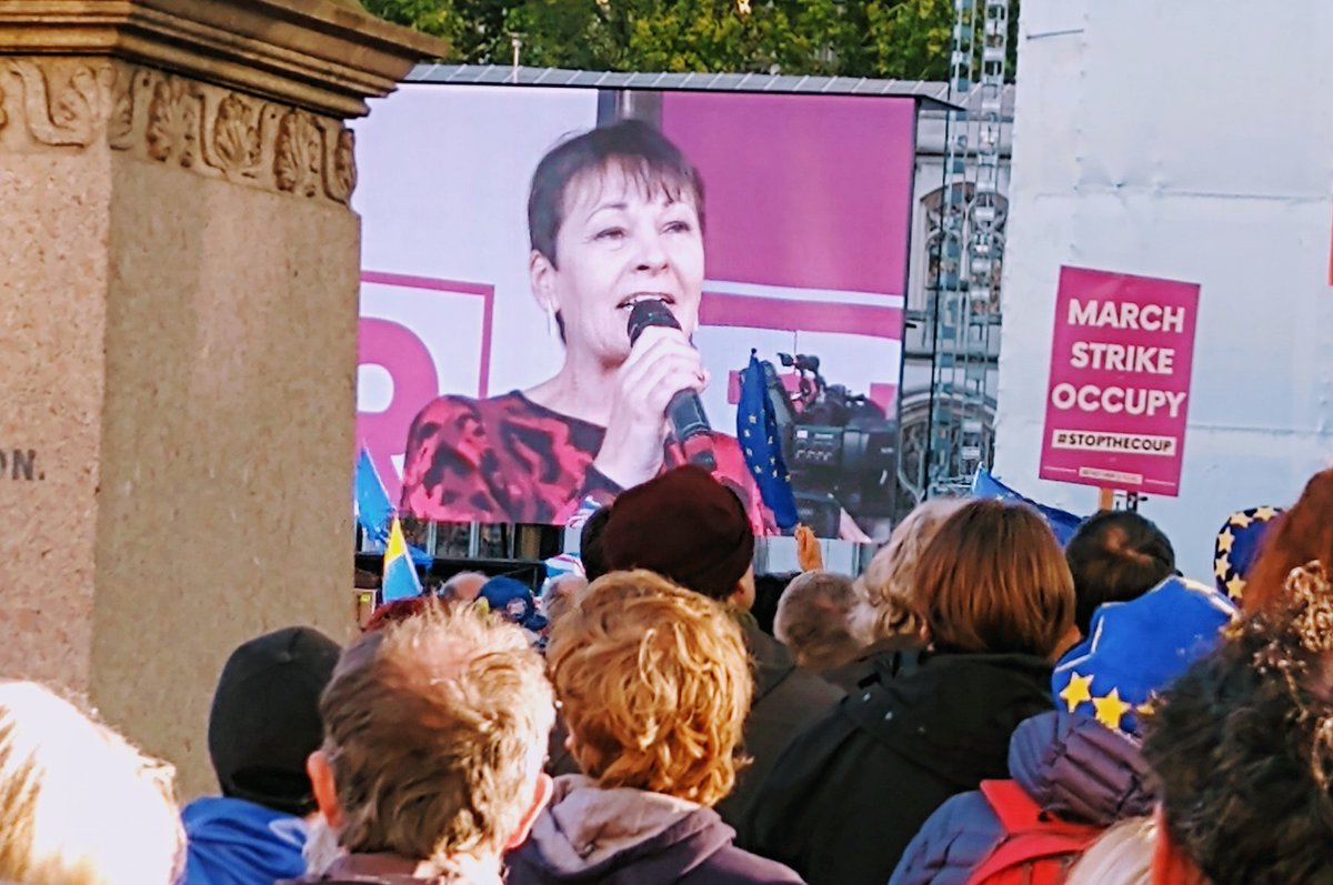 You have stopped Boris Johnson on his tracks! ✊✊✊ - @CarolineLucas receives huge wave of applause as she takes the stage at the #PeoplesVoteMarch!
