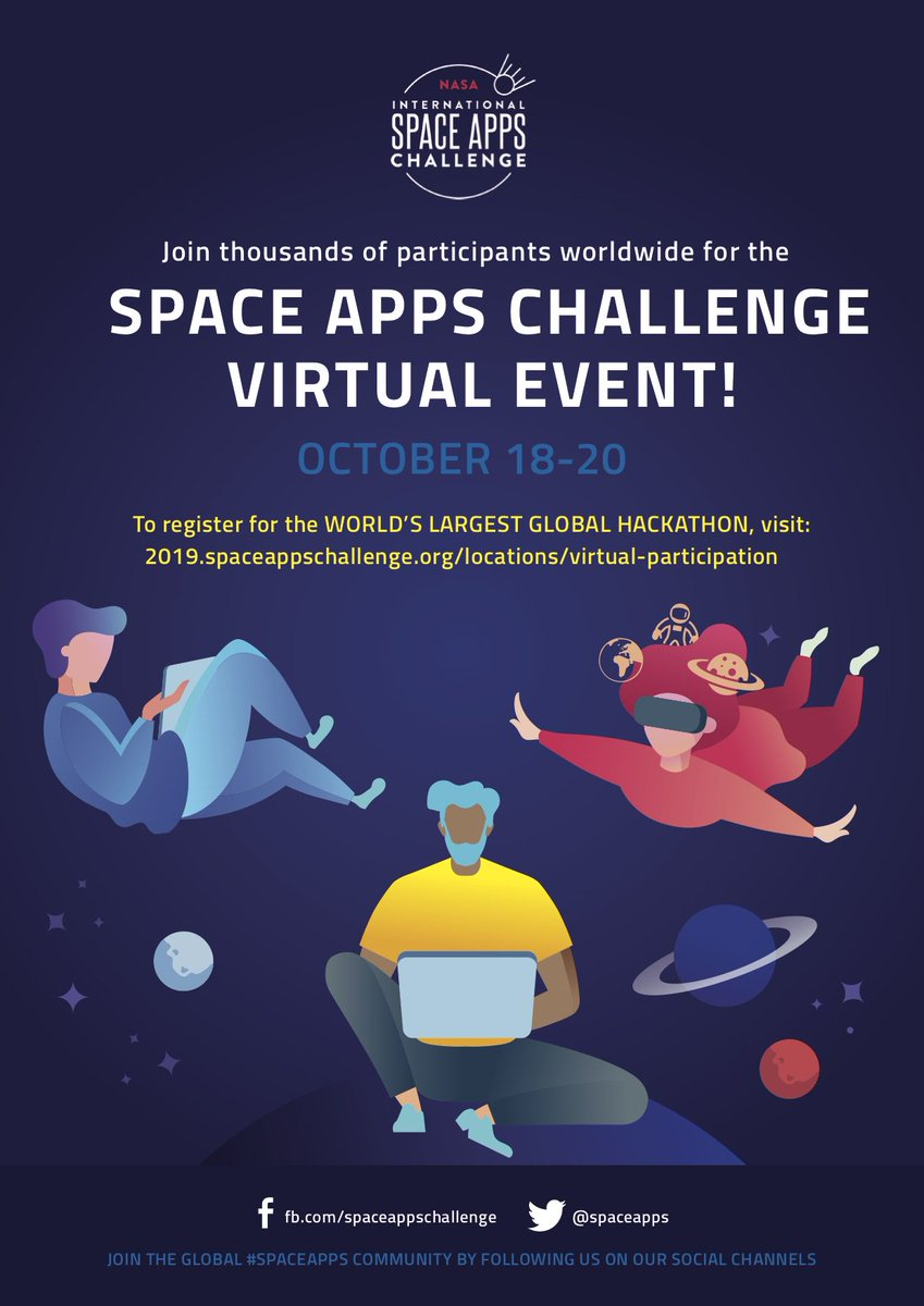 Join thousands worldwide for the #NASA @SpaceApps Challenge! Be a part of the worlds largest global #hackathon and create #innovative solutions to some of the world's biggest problems. Explore Challenges Near and Far: 2019.spaceappschallenge.org/auth/signup​ #SpaceApps