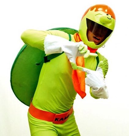 Kame Rider, a biker with a turtle for a helmet, is the mascot of South Fukuoka Driving School in Japan.