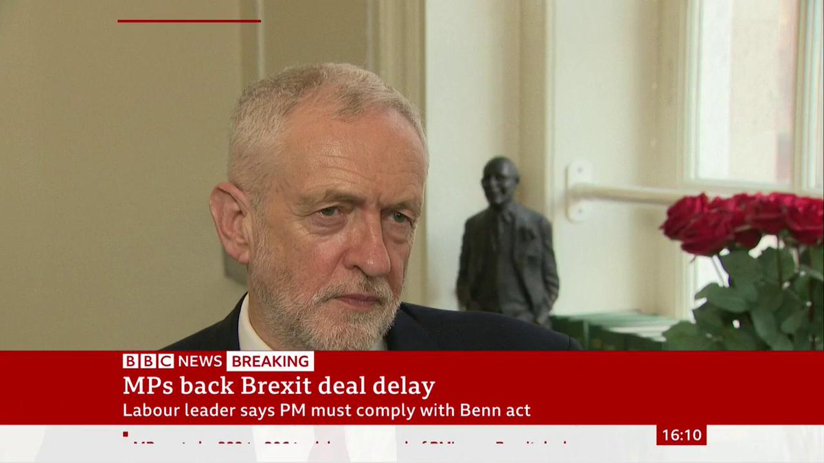 """""""I think we should now have the opportunity to scrutinise what the government's plans are on this, but primarily of course the Prime Minister must acknowledge that he must abide by the Benn act""""Jeremy Corbyn on MPs backing #Brexit delayhttp://bbc.in/2MvI6ER #BrexitVote"""