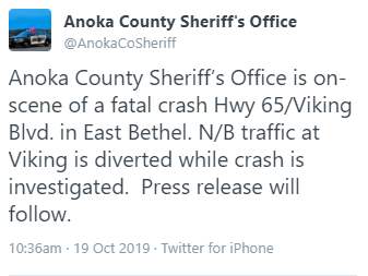 Anoka County Sheriff reporting this as a fatal.