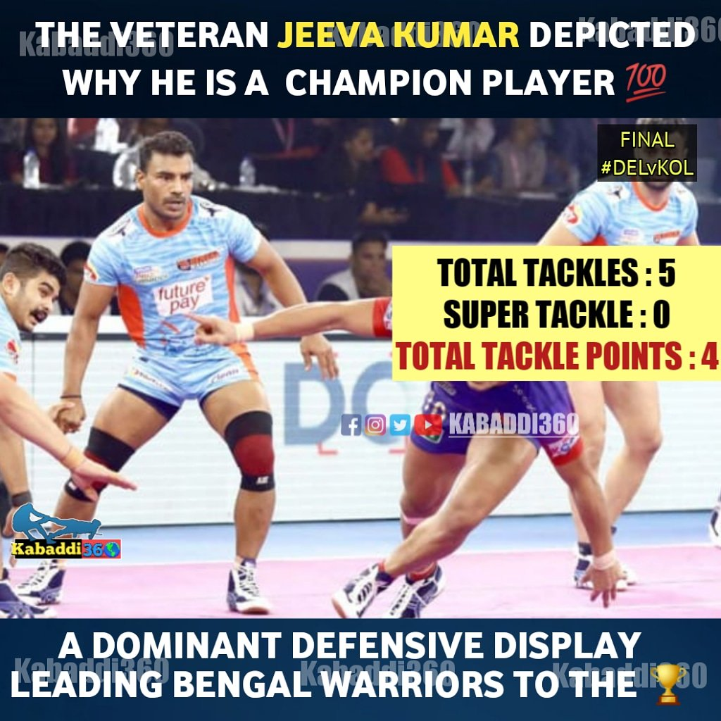 Versatility in the cover positions for Jeeva Kumar helped him lead the tackles brilliantly in the Final!  #JeevaKumar #DELvKOL #VIVOProKabaddiFinal #IsseToughKuchNahi #PKLWithKabaddi360 #vivoProKabaddi