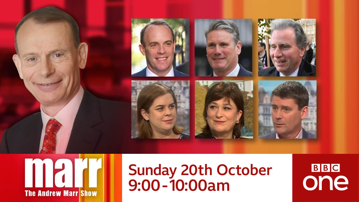 #Marr on Sunday with:Foreign Secretary @DominicRaabShadow Brexit Secretary @Keir_StarmerAnd Sir Oliver Letwin @oletwinofficialNews review: @helenlewis, @WestminsterWag, @pmdfoster BBC One, 9am