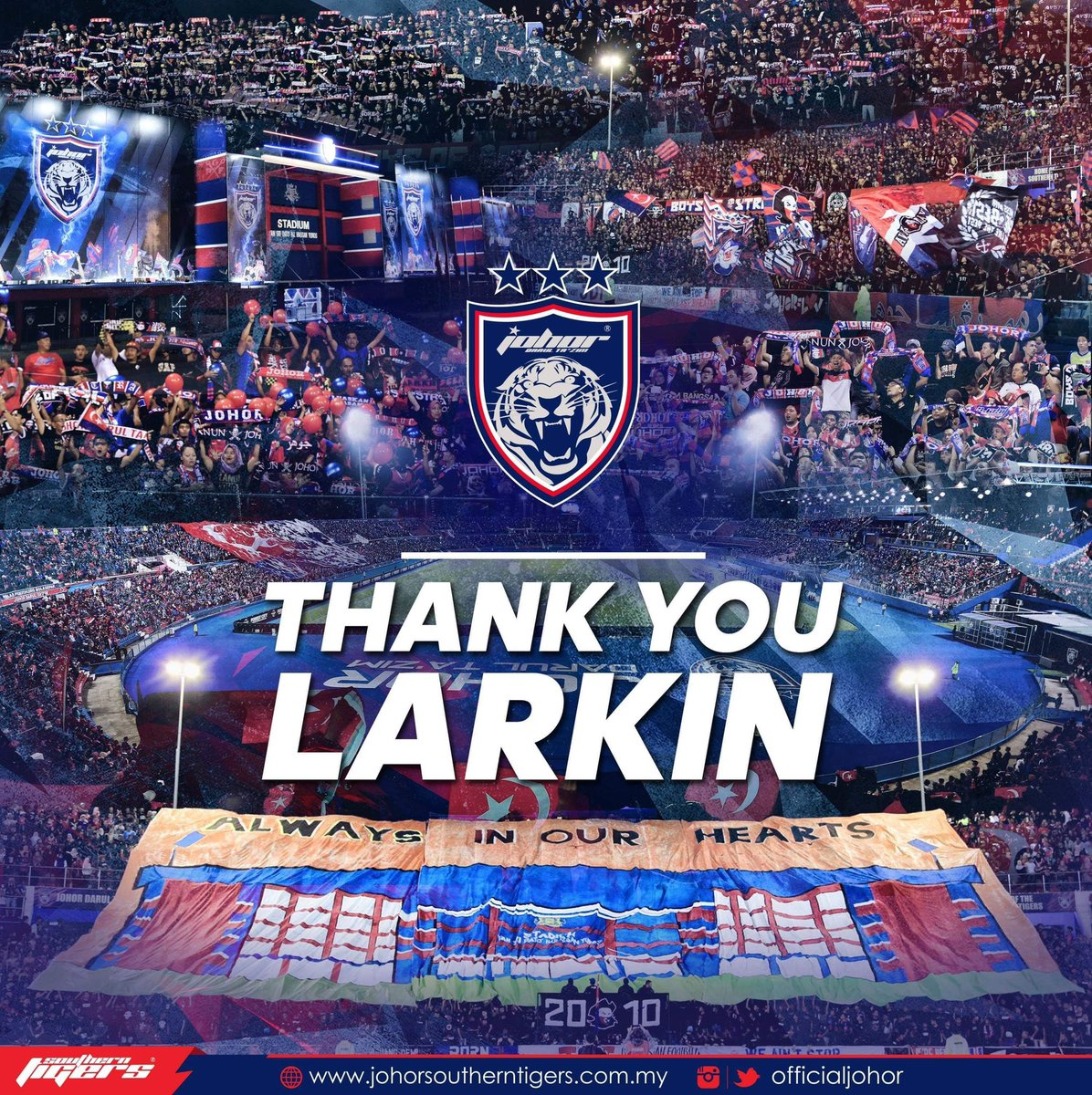 THANK YOU FOR THE MEMORIES, LARKIN!   What a journey it has been since 2013. - 13 trophies - 75-match unbeaten home league run - 6 league campaigns without defeat - Electrifying atmosphere  Luaskan Kuasamu Johor! <br>http://pic.twitter.com/3Bn5BvKyNT