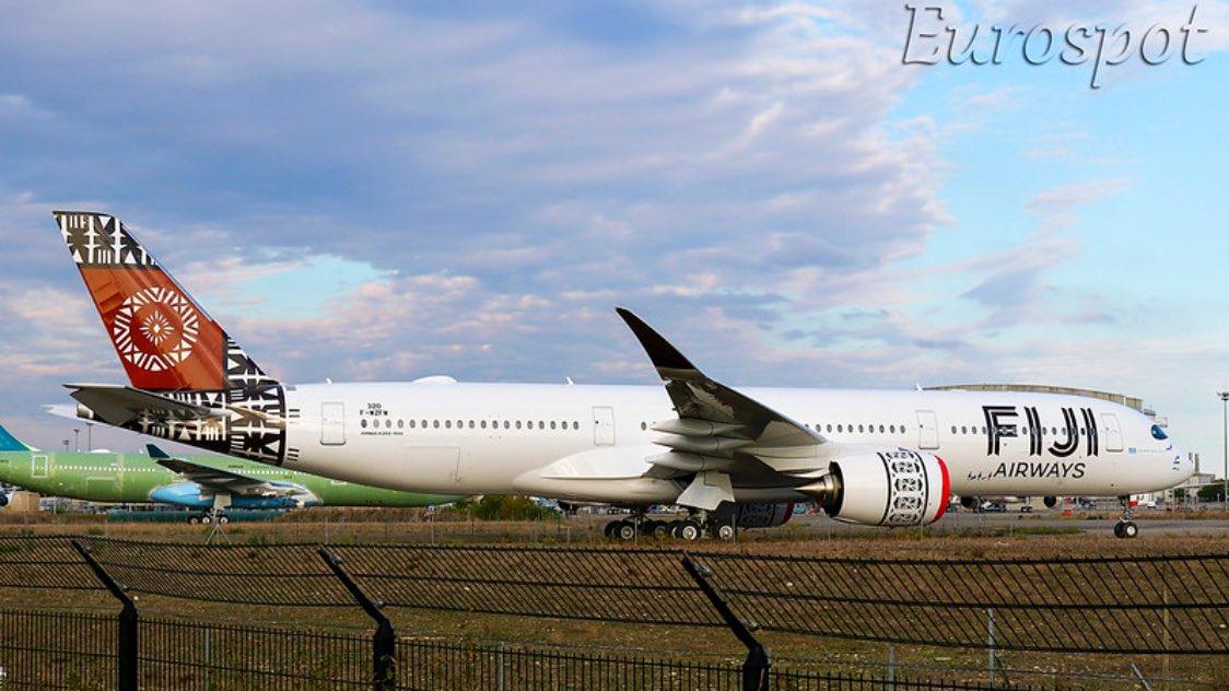 🇫🇯 Magnifique ! Voici le deuxième Airbus A350-900 de Fiji Airways, baptisé «Island of Vanua Levu». 📷 @cliper31