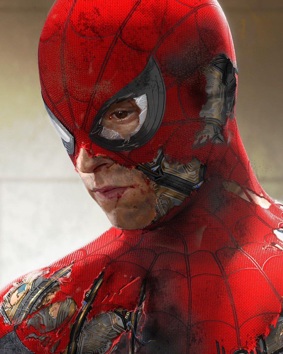 This newly-released unused #SpiderManFarFromHome concept art shows Peter Parker in a damaged Stark suit!  (via @MeinerdingArt)<br>http://pic.twitter.com/BCfiuZnN1J
