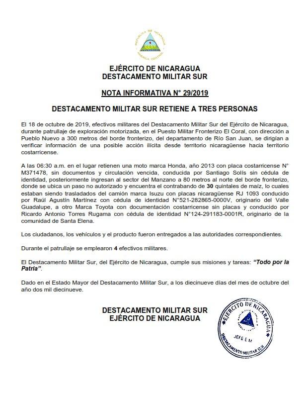 Efectivos militares del Destacamento Militar Sur del Ejército de Nicaragua retienen a tres personas