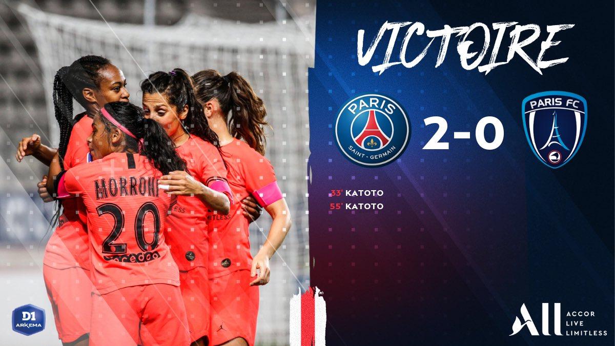 Un doublé de @MarieKatoto pour cette victoire dans le derby ! #PSGPFC 🔴🔵 #Parisienne