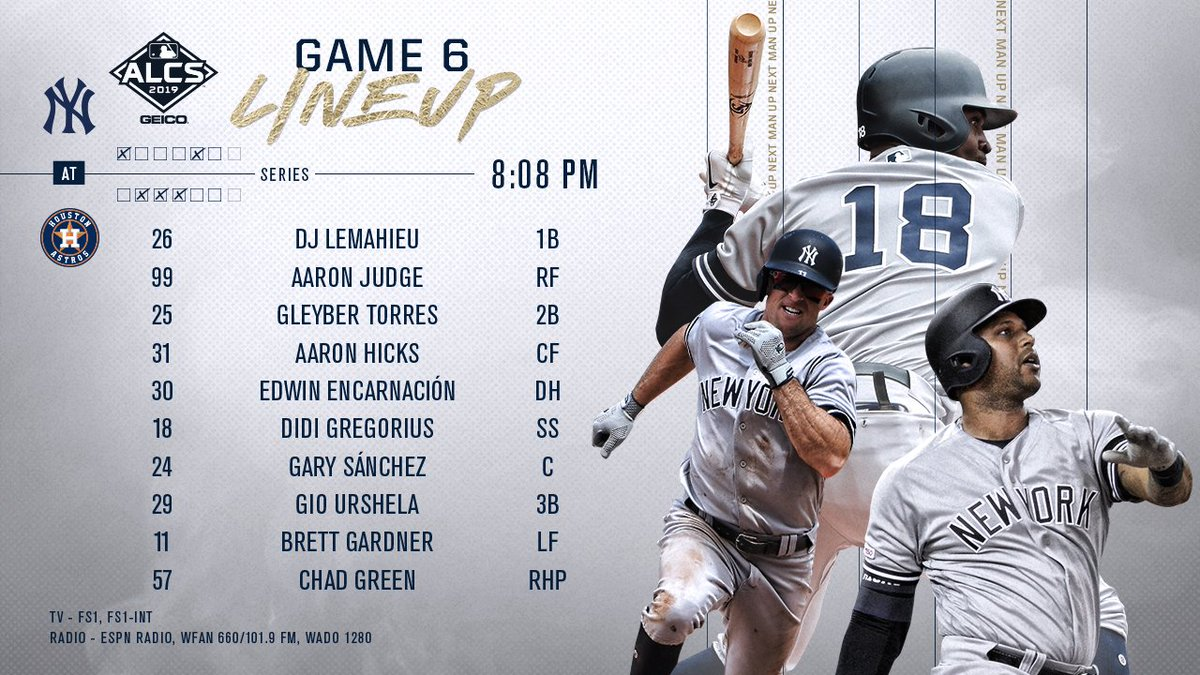 Yankees Announce Their Starting Lineup For Game 6 vs. Astros