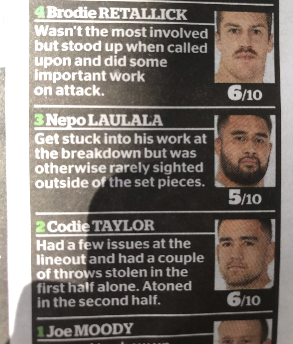 NZ All Blacks: Play close to perfect rugby as they ruthlessly destroy a highly rated Ireland team who has beaten them twice in the last three years in a high stakes elimination game.  NZ Newspapers: 6/10  #RWC19 #NZLvIRE<br>http://pic.twitter.com/8sAmDPeTjy