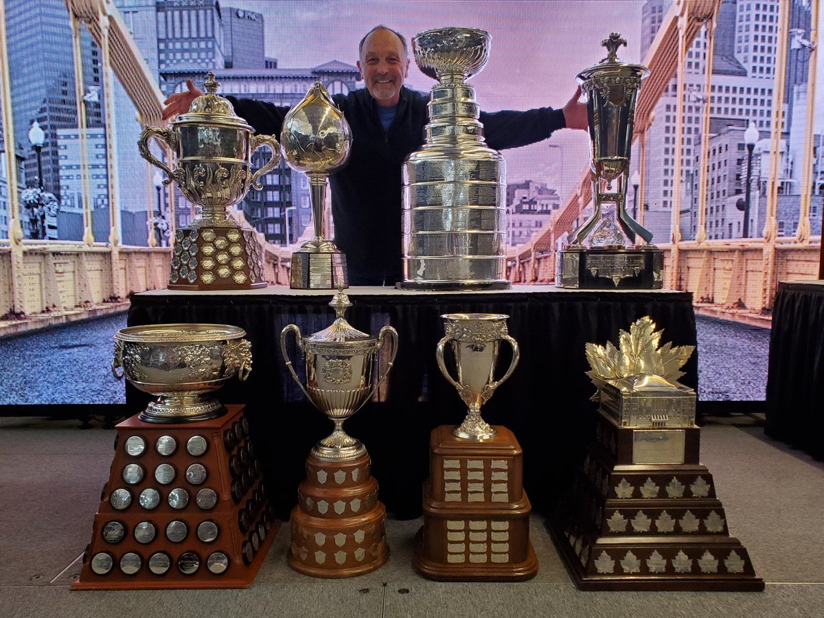 At an event in Pittsburgh with 7 time #StanleyCup champion and @HockeyHallFame member @bryantrottier and all the trophies he won throughout his @nhl career. @Avalanche @penguins @NYIslanders<br>http://pic.twitter.com/fLySJyra66