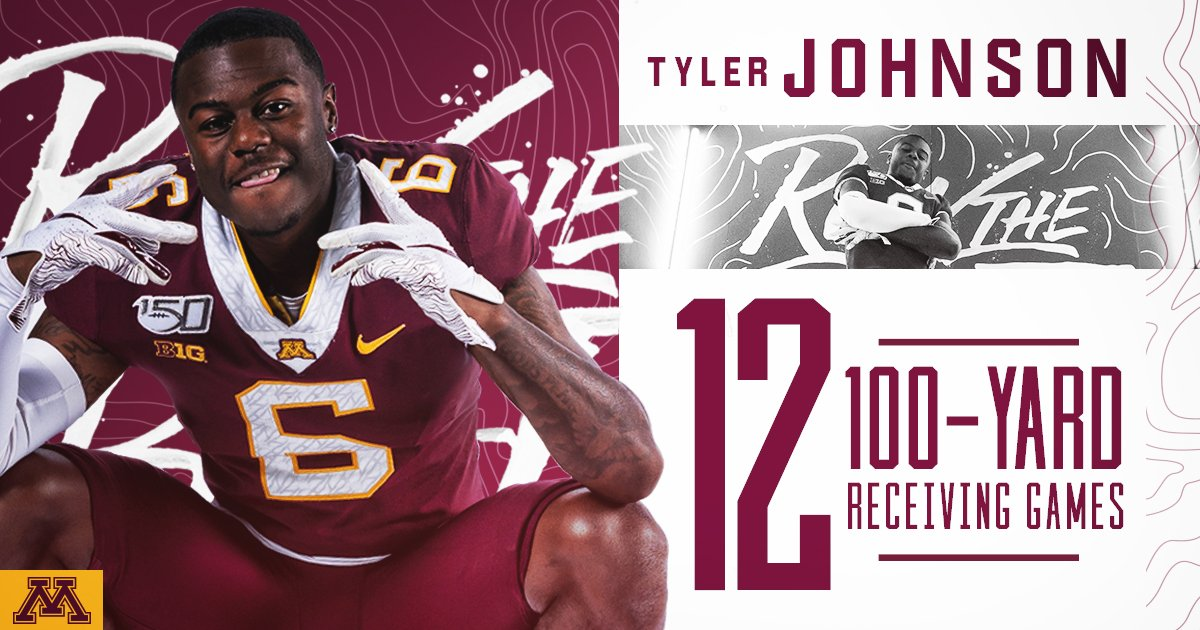All by himself! Tyler grabs a 56-yard TD and nabs himself a couple more milestones.   He is second all-time in Gopher history with 26 TDs. Nobody has recorded more 100-yard receiving games in a #Gophers uniform than T_muhneyy10. #MINNvsRU