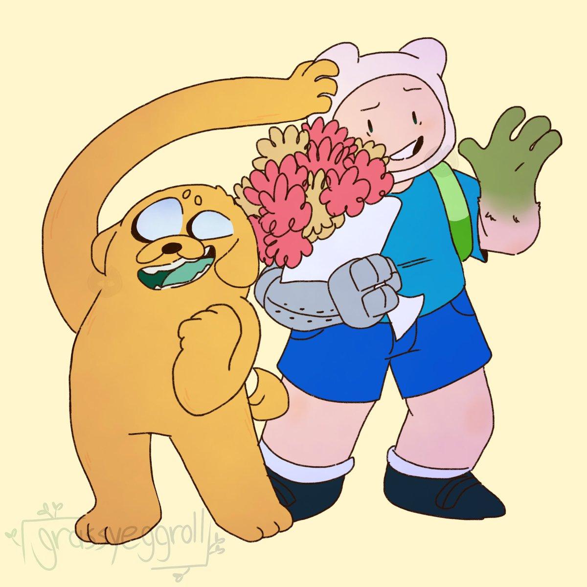 Finn(?) And Jake(?) #adventuretime #fernthehuman #fernmertens #poppytheplantdog