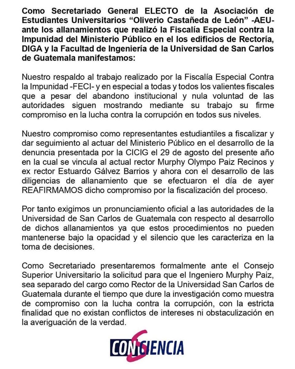 test Twitter Media - El secretario electo de la @AEU_OliverioCDL presentará solicitud al CSU para que @MurphyPaiz sea separado como Rector de la USAC, hasta que finalice la investigación que pesa sobre él por actos de corrupción. https://t.co/LBXImuBAuA