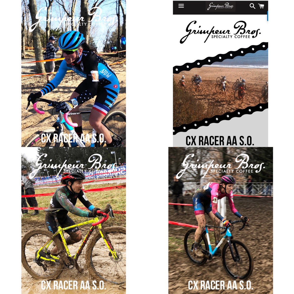 Introducing V. 2 of #CX RACER SINGLE ORIGIN AA COFFEE from Kenya available exclusively @  http:// GrimpeurBros.com    !  @carolinemani (upper left) is racing #tongueout #headshaking at da BERN WC on Sunday!!! SLAY FRENCHIE SLAY!!!  #racecross #beawsome #cycling #bikes #cyclocross<br>http://pic.twitter.com/OiZSJp5f3U