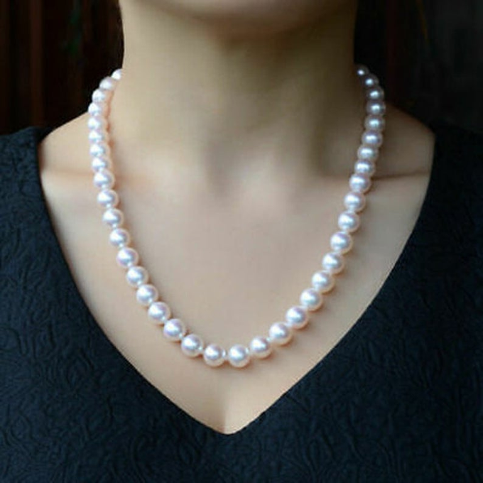 Estate Vintage Cultured Natural Pearl Necklace in Sterling Silver 9-10mm 18inch   #earrings #handmade #jewelrygram #bling #boutiques #instadaily #sterlingsilverjewelry #Silver #etsy #etsyhandmade #pendant #selfemployed #fashionjewelry #handmadejewelrysale