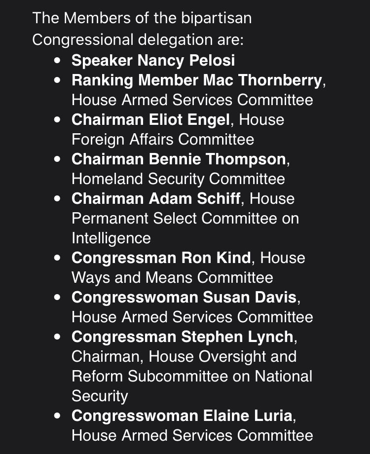 BREAKING: PELOSI, Schiff, Engel and other Dems are in Jordan for an unannounced meeting on matters related to Turkey/Syria. The list of attendees: