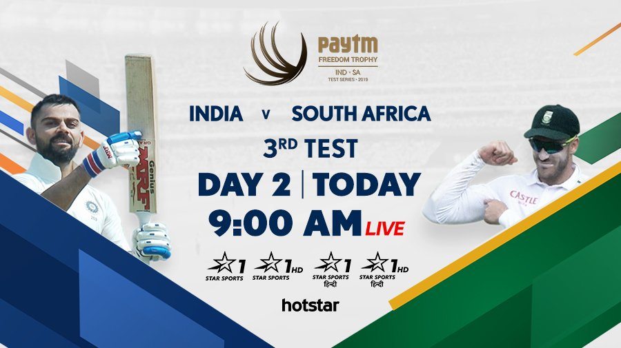#TeamIndia are threatening to run away with the 3rd Test, courtesy some sensational batting by @ImRo45 and @ajinkyarahane88! 💪Catch all the action from Day 2⃣ to see if the Proteas can get early wickets!