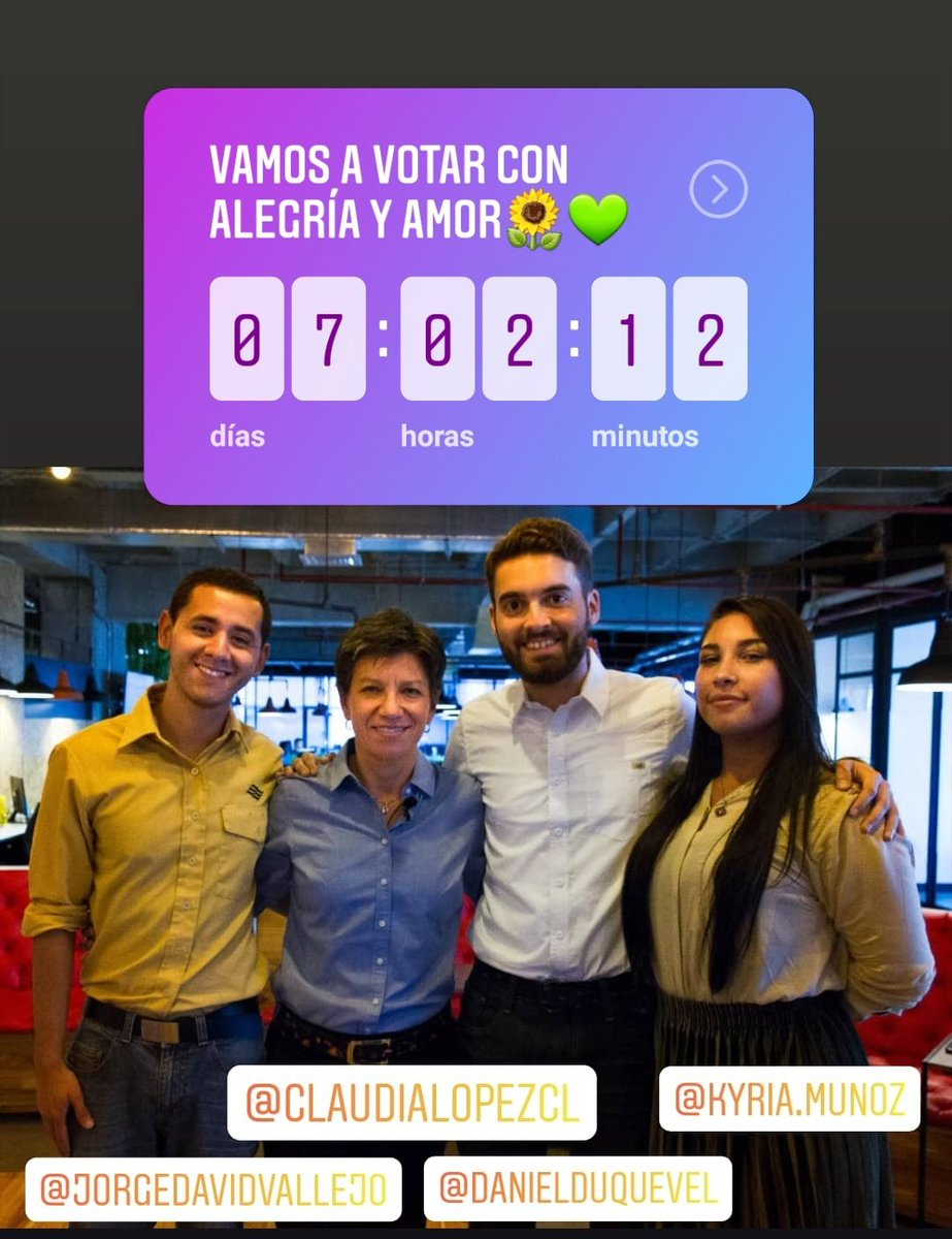 Faltan 7 días! Vamos a votar con alegría, amor y esperanza, lo que estamos haciendo es muy potente. Vamos con toda!👍🤟💪✌️#unnuevoaire🌱🍃#ClaudiaAlcaldesa 👩🏻🏫🚴♀️#Elecciones2019 #27oct#ColombiaDecide