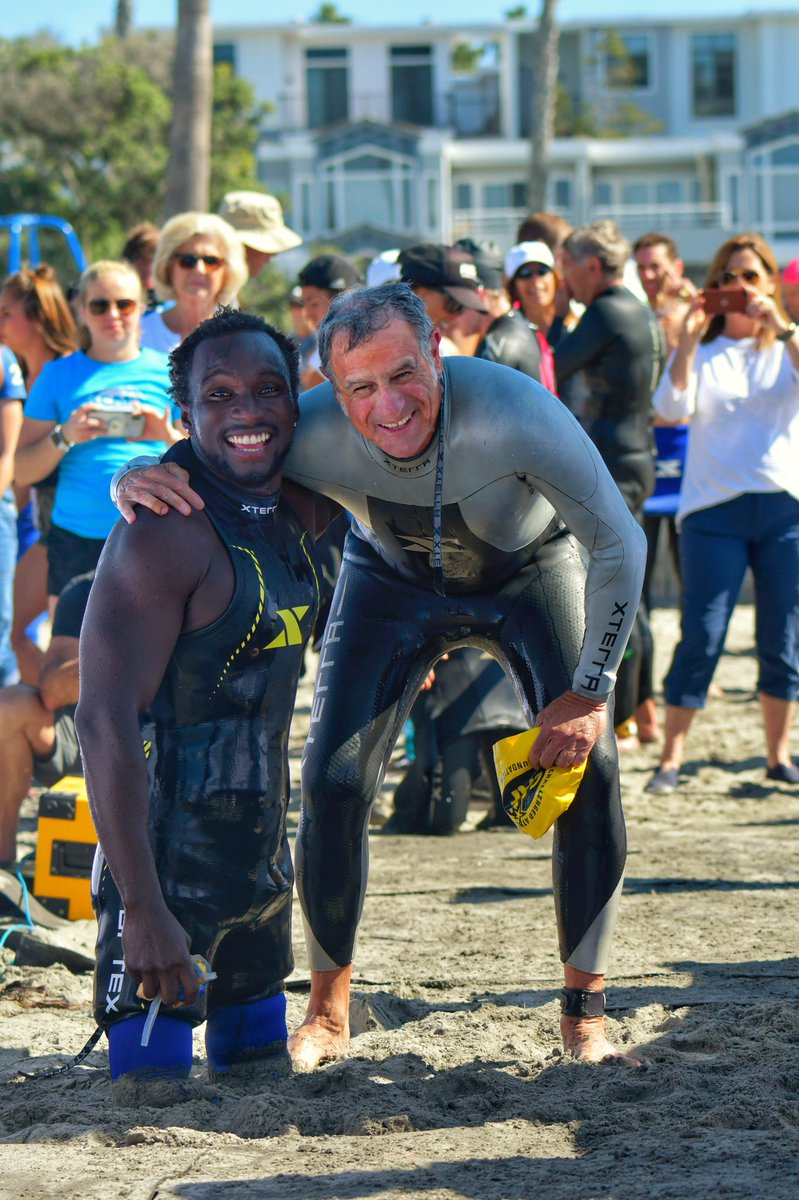 Two legends! Our Cofounder @Bob_Babbitt with our Ambassador @Rsewell92 after today's #BestDayinTri swim. Lookin' good in @XTERRAWETSUITS too! #TeamCAF  @CrusePhoto<br>http://pic.twitter.com/ATMy8GvLaf