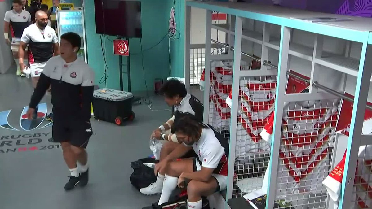 Japan players get settled in the changing room ahead of their quarter-final with South Africa #JPNvRSA #RWC2019 #WebbEllisCup