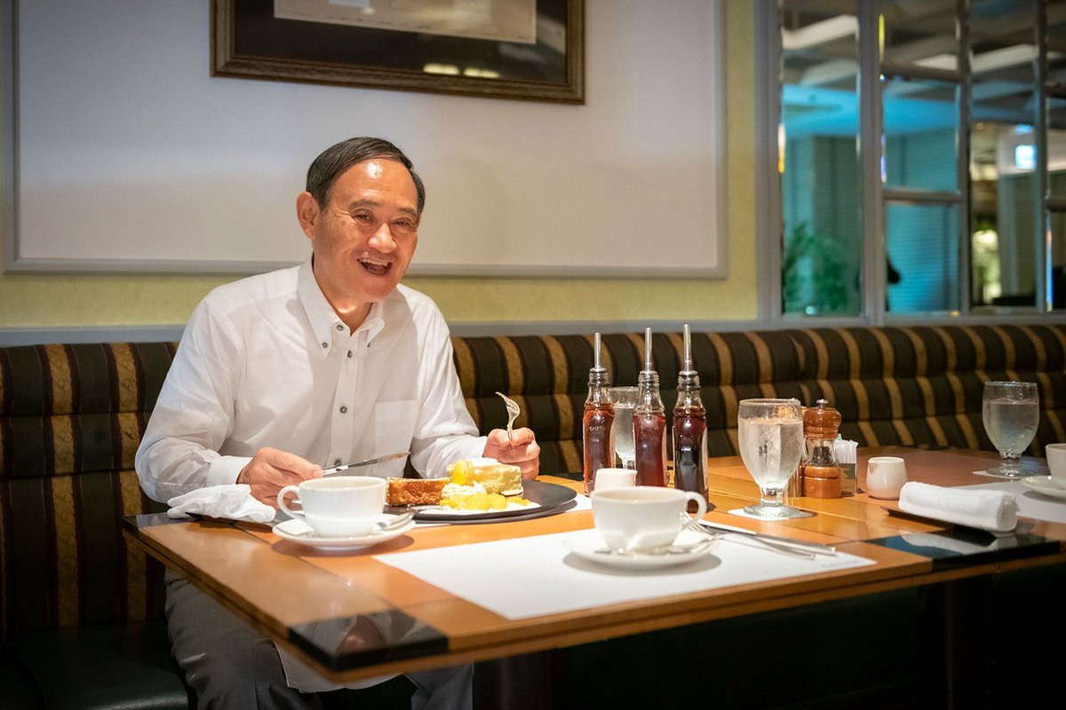 |ω`)菅官房長官の好物がパンケーキらしいのですが、検索かけたら孤独のグルメ感が半端無かった…おじさんが食べてるだけの写真なのに惹かれる…