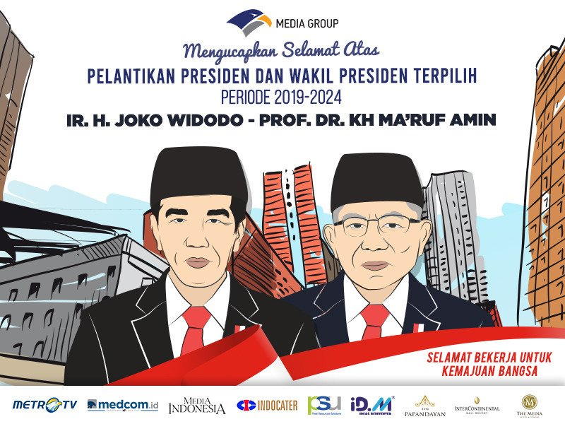 Media Group mengucapkan selamat atas pelantikan Presiden dan Wakil Presiden Republik Indonesia Periode 2019-2014, Joko Widodo dan Ma'ruf Amin. Selamat bekerja untuk kemajuan bangsa.#CongratsJokowiMarufAmin#PelantikanJokowiAmin