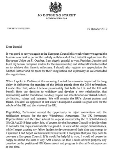 #BrexitDelay #BrexitDeal #DonaldTusk #BennAct: Boris Johnson sent the letter - unsigned - after a major setback in the #Commons to his #Brexit strategy.But the request was accompanied by a second letter, signed by the PM, saying he believed a delay would be a mistake.(BBC)