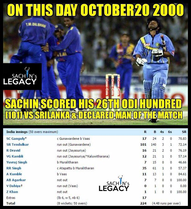 #OnThisDay in 2000#SachinTendulkar scored his 26th ODI hundred 101 vs @OfficialSLC and declared MOM❣️-A post from @sachin_rt pakistani fan page