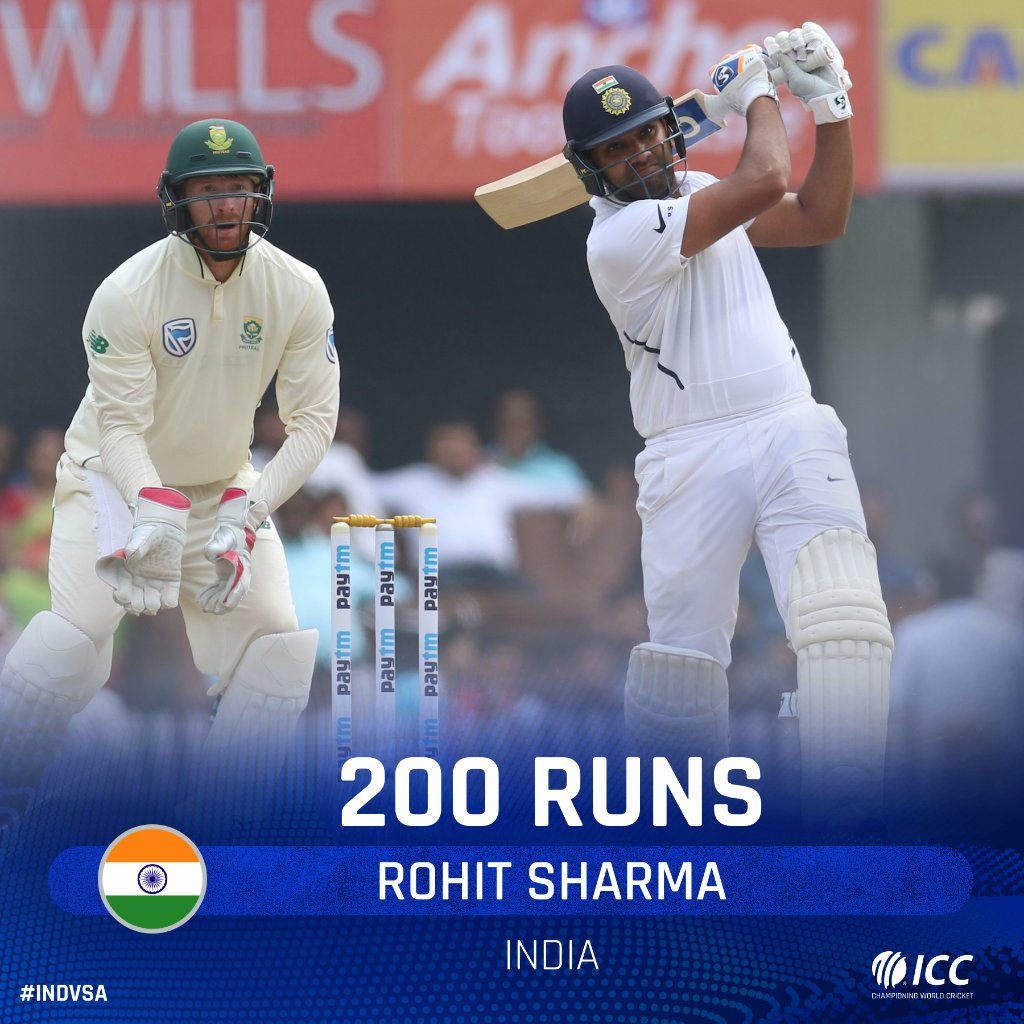 💥 200 FOR ROHIT SHARMA 💥He's recorded three double centuries in ODI cricket, and now he has one in Tests too 👀What a knock this has been from the India opener!Follow #INDvSA LIVE 👉http://bit.ly/IndvsSA6