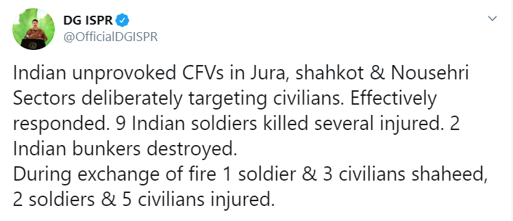 Pakistan claims that 9 Indian soldiers have been killed in Pak Army firing, also claims that 1 Pakistan Army soldier and 3 Pakistani civilians died in the exchange of fire.
