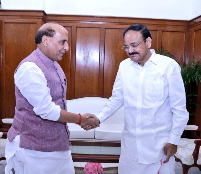 Delhi: Defence Minister Rajnath Singh called on Vice President, M Venkaiah Naidu today.