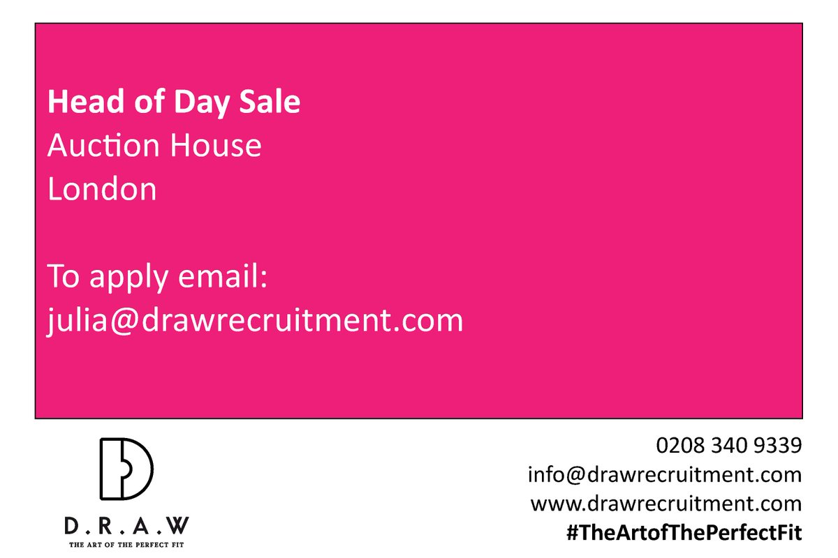 New in!#HeadofDaySale for #Modern & #Impressionist Department of #London #AuctionHouse.This market segment is an important focus for the company & a crucial revenue stream.Read more & apply: https://www.drawrecruitment.com/jobs/head-of-day-sale-modern-and-impressionist/…#artsrecruitment #auctionjobs