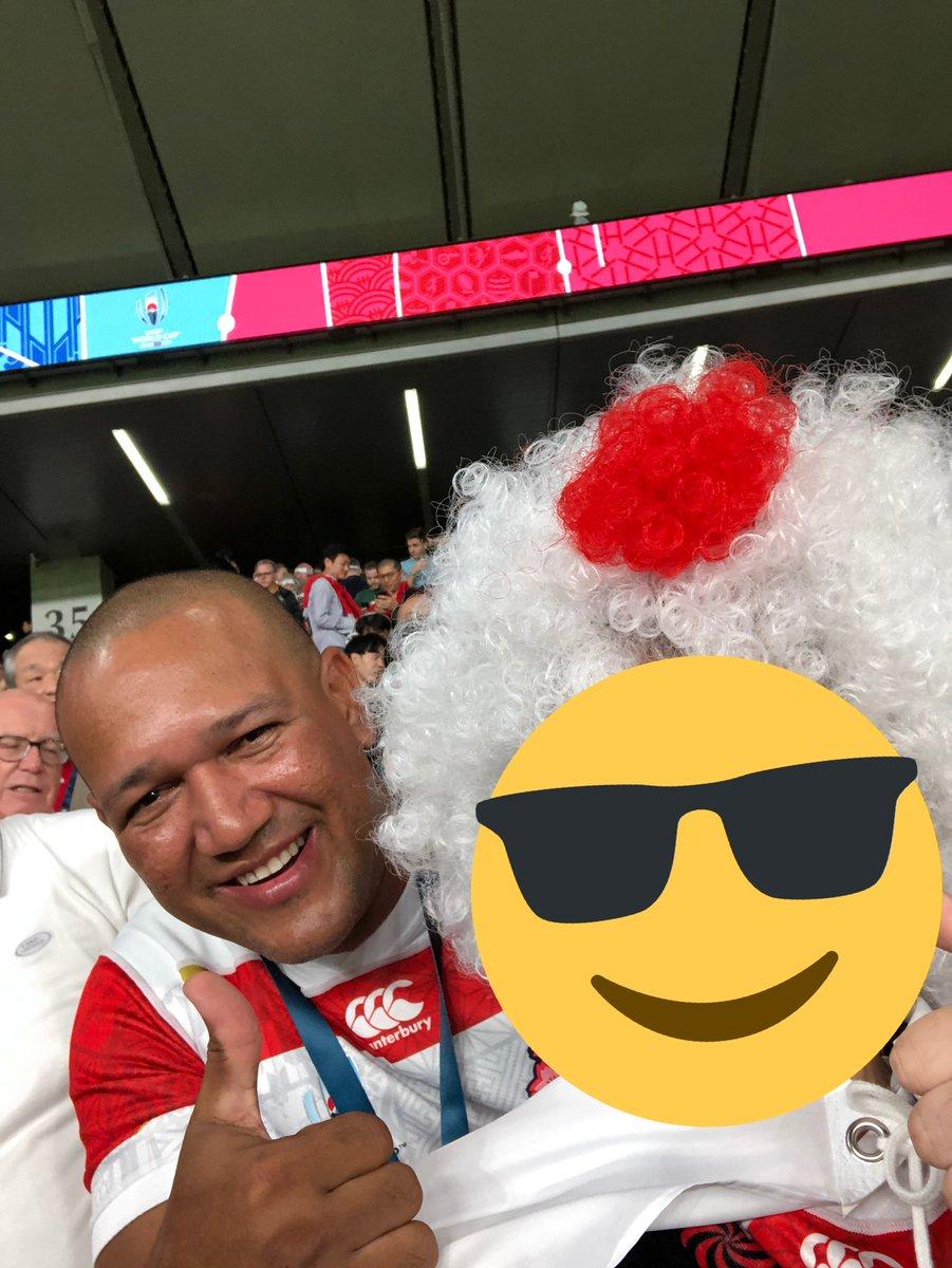 準々決勝日本🇯🇵vs南アフリカ🇿🇦DeNAのラミレスさんいたよ!!一緒に応援しましょう!!頑張れ、日本!!!#rwc2019 #JPNvRUS  #ラグビーワールドカップ