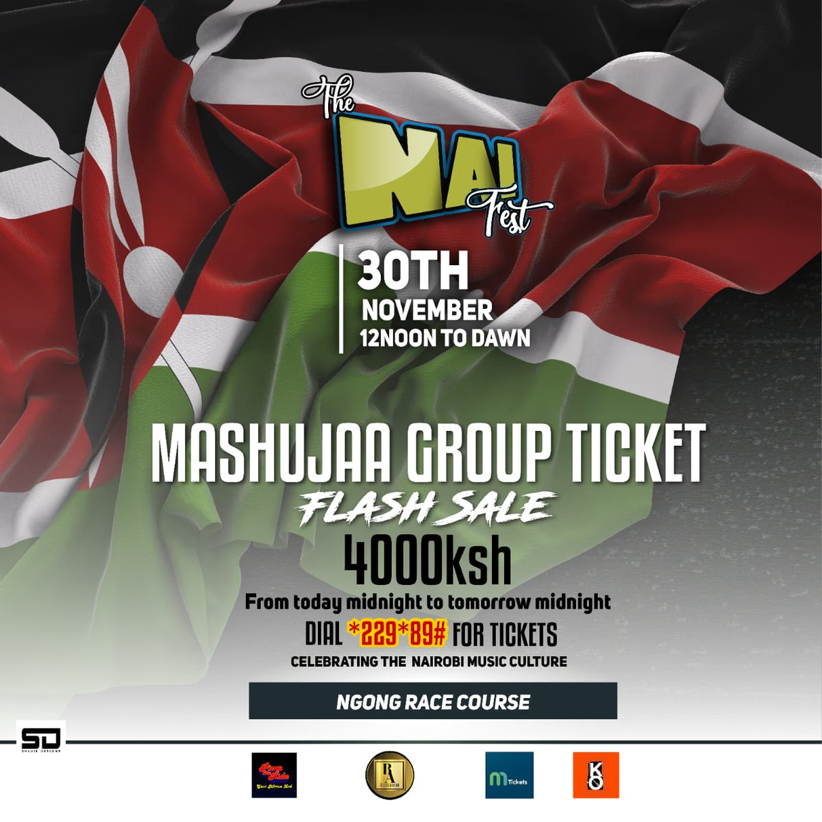 #TheNaiFest ¦ Mashujaa day comes bearing gifts... Get Nai Fest flash sale tickets at discounted prices. Ksh. 4000/- Group of 5 Dial *229*89# to get tickets 🎟 #MashujaaDay2019