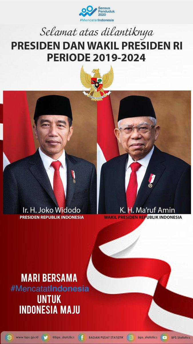 Badan Pusat Statistik Twitterissa Bps Mengucapkan Selamat Atas Dilantiknya Bapak Jokowi Prof Dr K H Ma Ruf Amin Sebagai Presiden Dan Wakil Presiden Ri Periode 2019 2024 Mari Mencatatindonesia Untuk Indonesia Maju