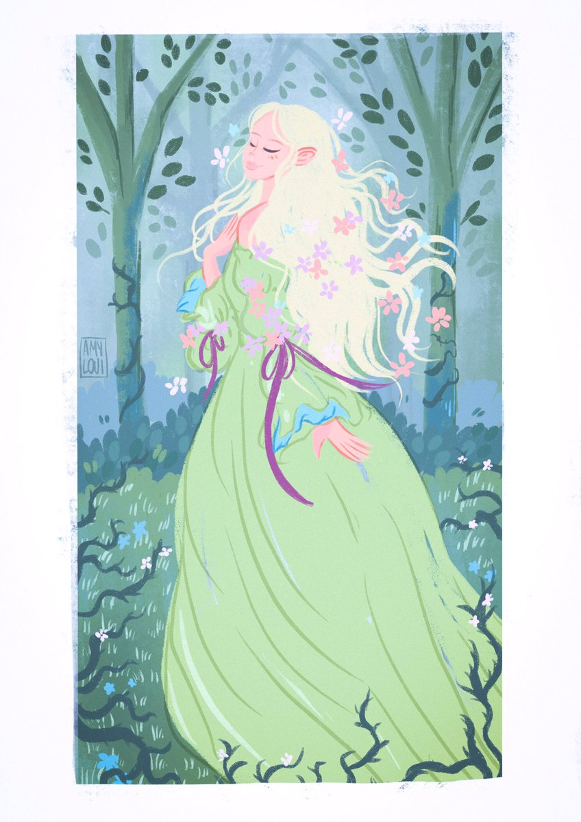 Some fairy tale vibes because I couldn't resist painting Elle Fanning's dress 🌿🌿